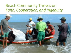 Algae harvesters in northeastern Brazil gather around one of their cooperatively-owned fishing boats.
