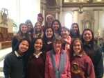 Sr. Carol and NDSJ students celebrate Catholic Schools' Week in St. Joseph Cathedral in downtown San Jose, CA.