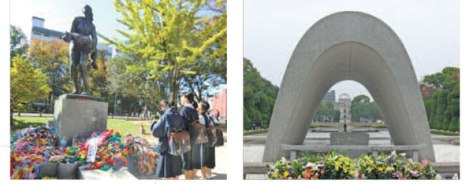 Students-and-peace-cranes-to-Peace-Memorial-Park